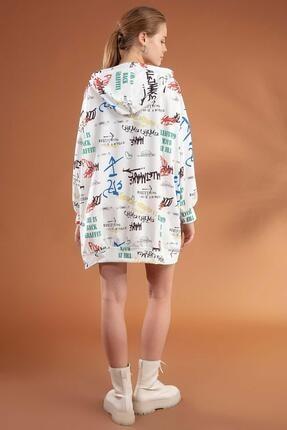 Pattaya Kadın Yazı Baskılı Kapşonlu Oversize Elbise Sweatshirt Y20w110-4125-3 4