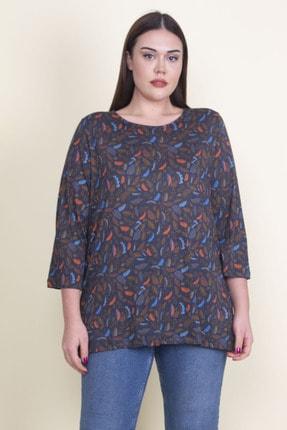 Şans Kadın Lacivert Viskon Çiçekli Bluz 65N21053-1 0