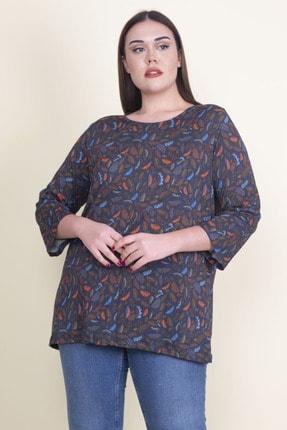Şans Kadın Lacivert Viskon Çiçekli Bluz 65N21053-1 1