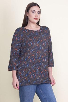 Şans Kadın Lacivert Viskon Çiçekli Bluz 65N21053-1 2