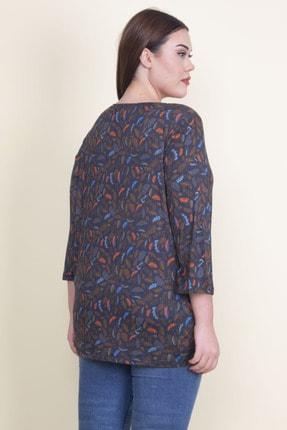 Şans Kadın Lacivert Viskon Çiçekli Bluz 65N21053-1 3