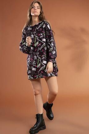 Pattaya Kadın Grafik Desenli Kapşonlu Oversize Elbise Sweatshirt Y20w110-4125-7 1