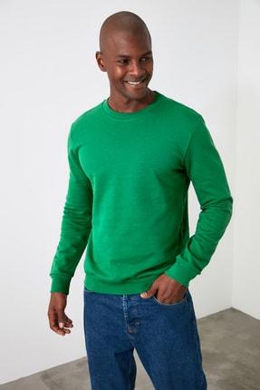 TRENDYOL MAN Yeşil Erkek Regular Fit Bisiklet Yaka Uzun Kollu Sweatshirt TMNAW20SW0165 1