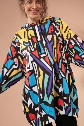 Pattaya Kadın Grafik Desenli Kapşonlu Oversize Sweatshirt Y20w110-4125-28 2