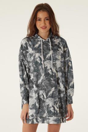 Pattaya Kadın Baskılı Kapşonlu Sweatshirt Elbise P20w-4125-2 1