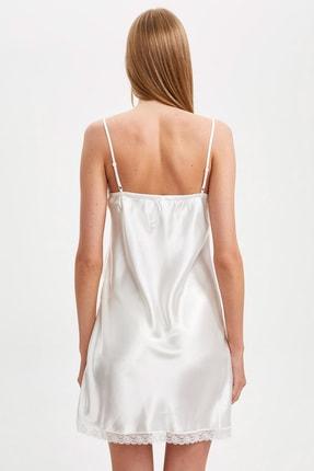 Defacto Fit Kadın Whıte (000) Bride Askılı Dokuma Saten Elbise R3465AZ20AU 3