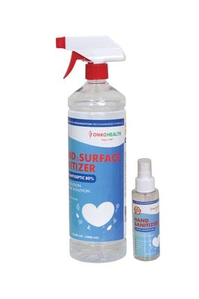 Onko Health %80 Alkollü El Ve Yüzey Dezenfektanı Sıvı 1 Litre Spray Tetik Başlıklı + 100ml Hediye 0