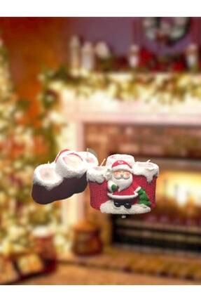 Noel Baba Figürlü 3'lü Mum Dekoratif Seramik Biblo 1 Adet NY0003-1