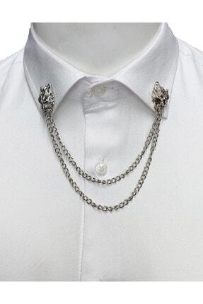 Elegante Cravatte Erkek Gümüş Kurt Figürlü Zincirli Gömlek Yaka İğnesi 0