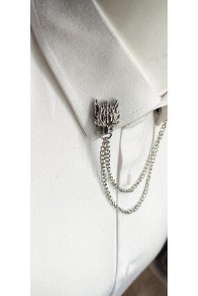 Elegante Cravatte Erkek Gümüş Kurt Figürlü Zincirli Gömlek Yaka İğnesi 1