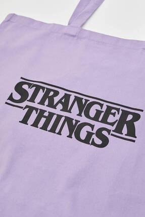 Pull & Bear Stranger Things Yazılı Mor Çanta 3
