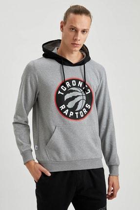 Defacto Unisex Gri Nba Lisanslı Kapüşonlu Slim Fit Sweatshirt 4