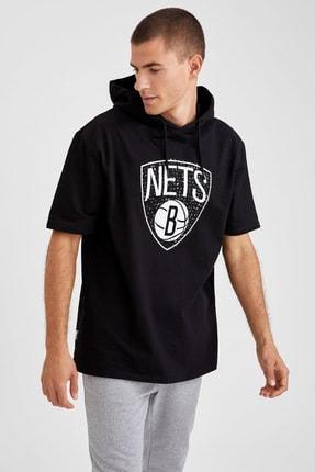 Defacto Fit Erkek Siyah Nba Lisanslı Oversize Fit Kısa Kollu Sweatshirt 0