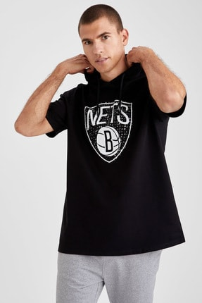 Defacto Fit Erkek Siyah Nba Lisanslı Oversize Fit Kısa Kollu Sweatshirt 4