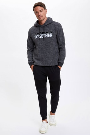 Defacto Forever Baskılı Kapüşonlu Regular Fit Sweatshirt 1