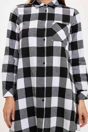Defacto Kadın Black Red Kareli Cep Detaylı Gömlek Tunik T1162AZ20AU 2
