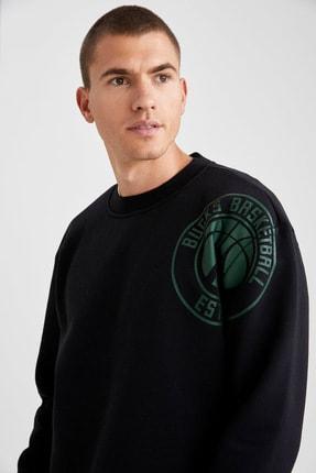 Defacto Erkek Siyah Nba Lisanslı Bisiklet Yaka Oversize Fit Sweatshirt 2