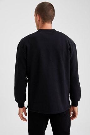 Defacto Erkek Siyah Nba Lisanslı Bisiklet Yaka Oversize Fit Sweatshirt 3