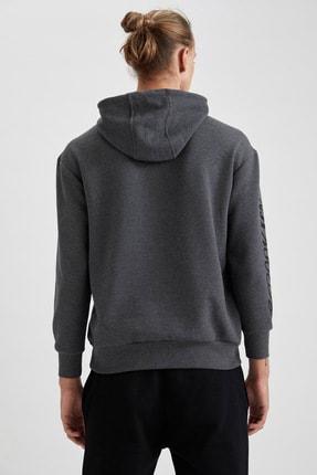 Defacto Erkek Gri Nba Lisanslı Kapüşonlu Oversize Fit Sweatshirt 3