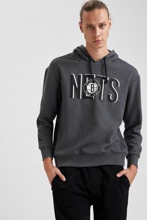 Defacto Erkek Gri Nba Lisanslı Kapüşonlu Oversize Fit Sweatshirt 4
