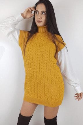 Linada Outfit Kadın Hardal Gömlek Kol Boğazlı Örgü Elbise 0