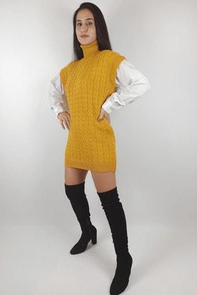 Linada Outfit Kadın Hardal Gömlek Kol Boğazlı Örgü Elbise 2