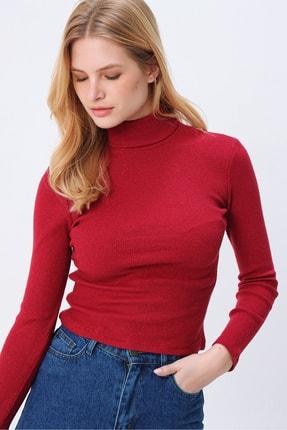 Trend Alaçatı Stili Kadın Vişne Balıkçı Yaka Basıc Fitilli Şardonlu Bluz ALC-X5420 1