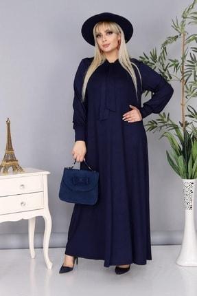 Şirin Butik Kadın Büyük Beden Lacivert Renk Kravat Yaka Detaylı Viskon Elbise 0