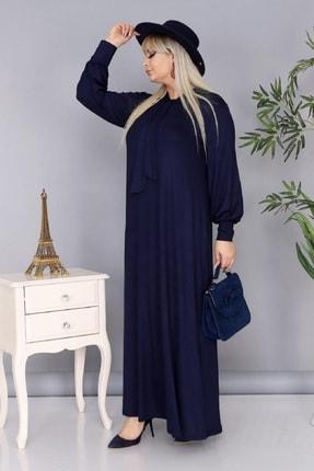 Şirin Butik Kadın Büyük Beden Lacivert Renk Kravat Yaka Detaylı Viskon Elbise 2