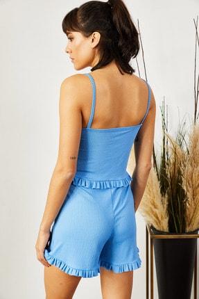 Olalook Kadın Bebe Mavi Askılı Fırfırlı Pijama Takımı TKM-19000076 4
