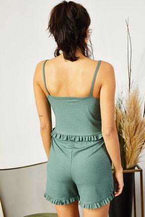 Olalook Kadın Mint Yeşili Askılı Fırfırlı Pijama Takımı TKM-19000076 3