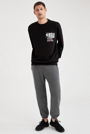 Defacto Fit Erkek Black Red Nba Lisanslı Oversize Fit Sırtı Baskılı Sweatshirt T6213AZ20CW 1