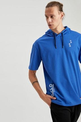 Defacto Erkek Mavi Oversize Fit Kapüşonlu Kısa Kollu Sweatshirt 2