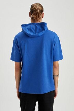 Defacto Erkek Mavi Oversize Fit Kapüşonlu Kısa Kollu Sweatshirt 3