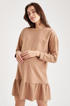 Defacto Volanlı Etek Detaylı Hamile Elbisesi 4