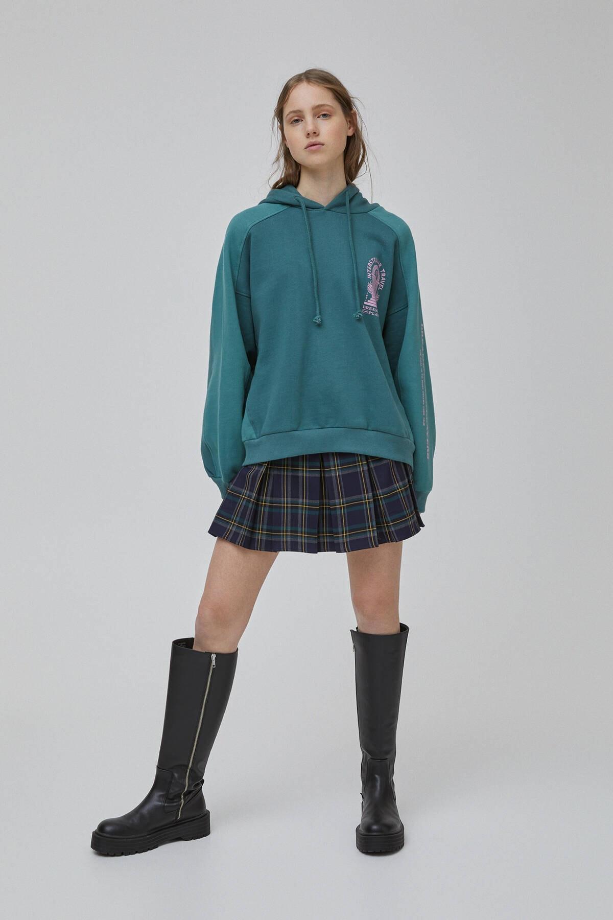 Pull & Bear Kadın Şişe Yeşili Yeşil Blok Renkli Sweatshirt 09594347 2