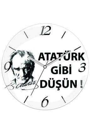 3M Atatürk Gibi Düşün Sessiz Akar Bombeli Gerçek Cam Duvar Saati 0