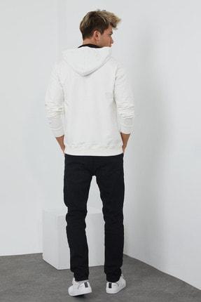 MRS CLOTHING Erkek Beyaz Baskılı Kapüşonlu İnce Sweatshirt 4