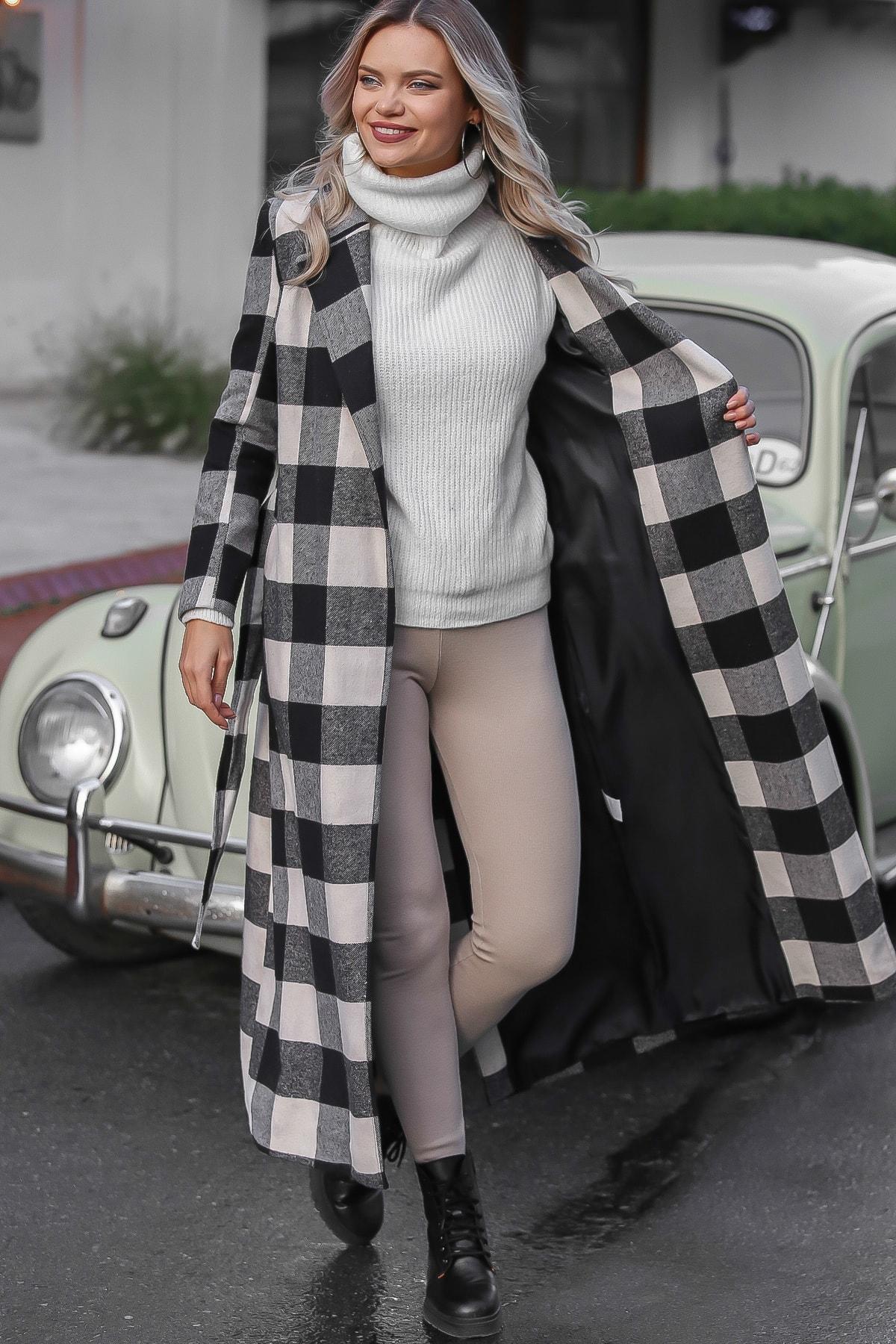 Chiccy Kadın Siyah-Ekru Klasik Ceket Yakalı Ekose Cepli Astarlı Yırtmaçlı Uzun Kaşe Kaban M10210200KA99841 3