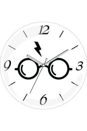 3M Siyah Beyaz Harry Potter Gözlük Bombeli Gerçek Cam Duvar Saati 0