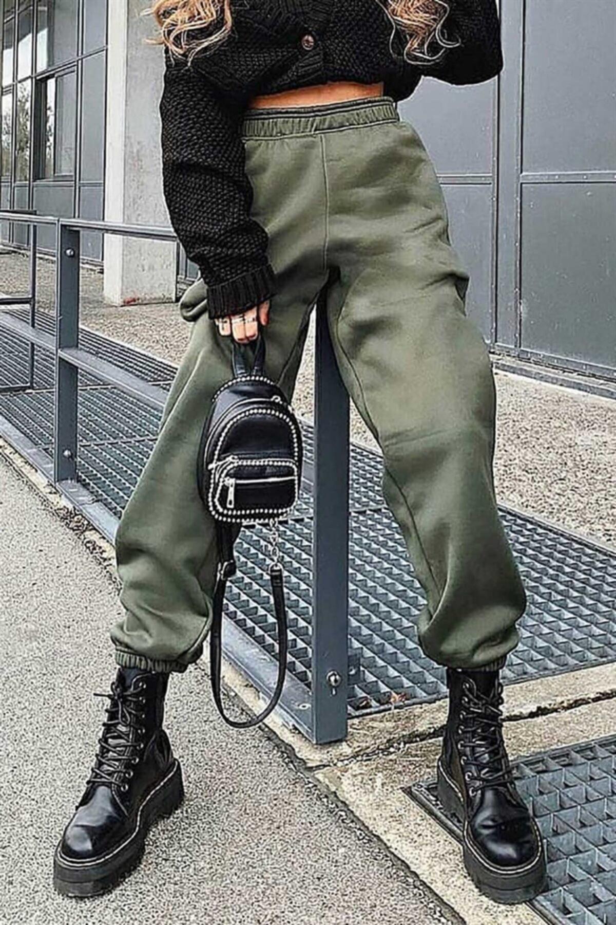 Kadın Haki Paça Lastikli Oversize Kadın Eşofman MG324
