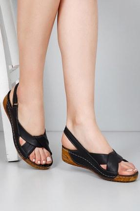 GÖNDERİ(R) Kadın Siyah Hakiki Deri Sandalet 42304 0