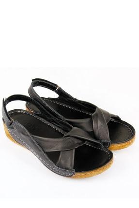 GÖNDERİ(R) Kadın Siyah Hakiki Deri Sandalet 42304 1