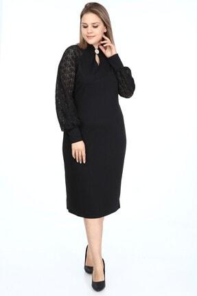 Garip tekstil Büyük Beden Siyah Kadın Elbise Broşlu 2