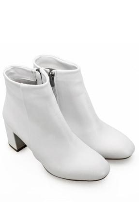 GÖNDERİ(R) Gön Beyaz Fermuarlı Yuvarlak Burun Günlük Kadın Bot 37346 1