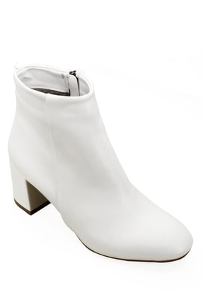 GÖNDERİ(R) Gön Beyaz Fermuarlı Yuvarlak Burun Günlük Kadın Bot 37346 4