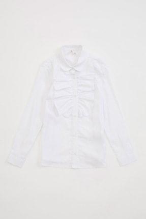 Defacto Yakası Fırfır Detaylı Uzun Kollu Gömlek 0