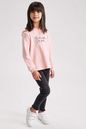 Defacto Kız Çocuk Baskılı Kapüşonlu Sweatshirt 1