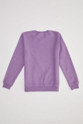 Defacto Kız Çocuk Mor Unicorn Baskılı Sweatshirt 1