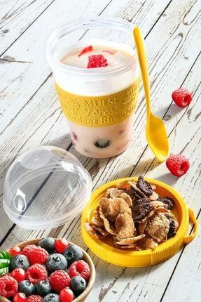 Kitchen Life Take'n Go Kapaklı Kaşıklı Hazırla Ve Çık Meyveli Yoğurt Kabı 1